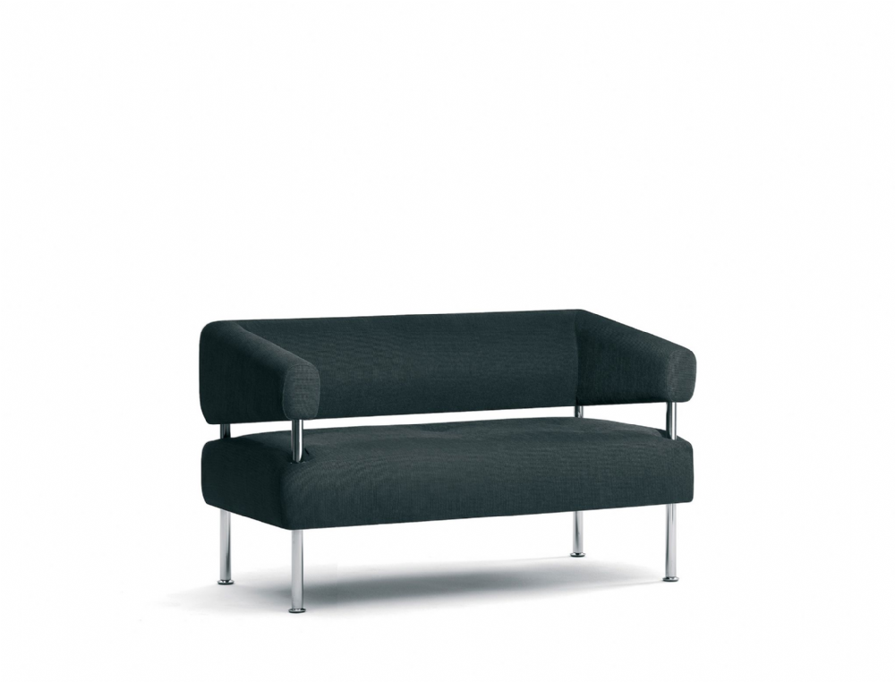 Pledge Koko Two Seat Sofa With Elevated Back With Chrome Finish